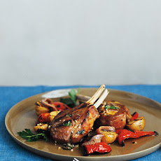 Grilled Lamb Chops and Red Peppers with Anchovy-Parsley Sauce