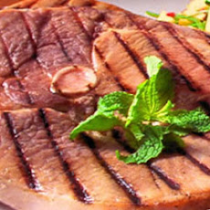 Grilled Ham Steak with Peach Fresca