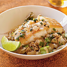 Halibut with Coconut-Red Curry Sauce