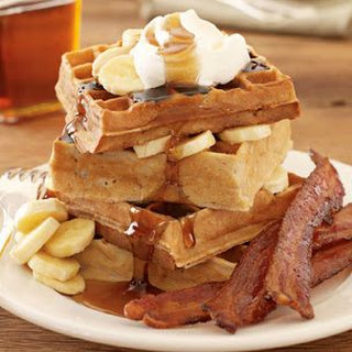 Banana Waffles with Candied Bacon
