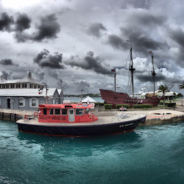 Clouds over Ordnance Island by Dark Reid - Transportation Boats ( clouds, st george's, pilot, bermuda, deliverance )