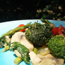 Bea's Shrimp and Green Veggie Stir Fry With Mushrooms