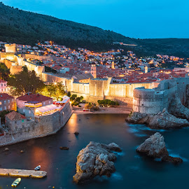 Old Town Dubrovnik by Stephen Bridger - City,  Street & Park  Vistas ( europe, dubrovnik, old town, croatia, city lights, walled city, travel, travel photography )