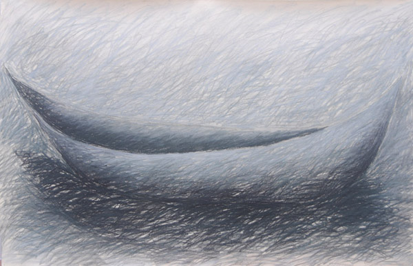 Boat #5 <br> Pastel, oil pastel, charcoal on paper <br> 26 x 40 in