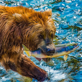 Breakfast at Brooks Falls by Robert Arrington - Digital Art Animals ( bears, alaska, kodiak, brooks falls, katmai )