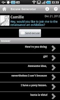 Screenshot of SMS Excuse Builder