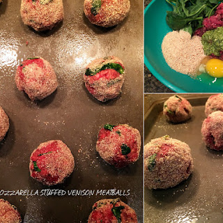 Pesto Mozzarella stuffed Venison Meatballs