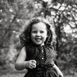 Smiling Runner by Dominic Lemoine Photography - Babies & Children Child Portraits ( girl, woodland, smile, run, running )