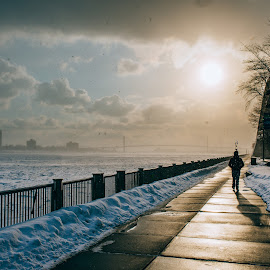 orange sunset by Alexander Zacharov - City,  Street & Park  Street Scenes ( michigan, orange, cold, sunset, snow, riverwalk, bridge, detroit, downtown, river )