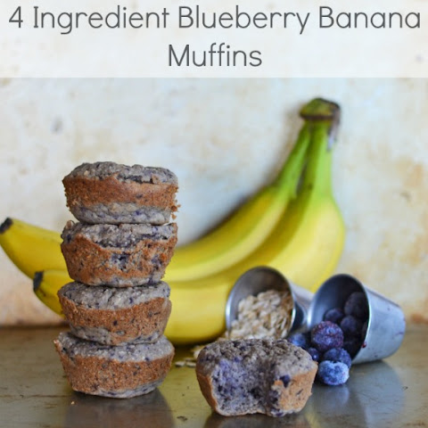 4 Ingredient Blueberry Banana Muffins