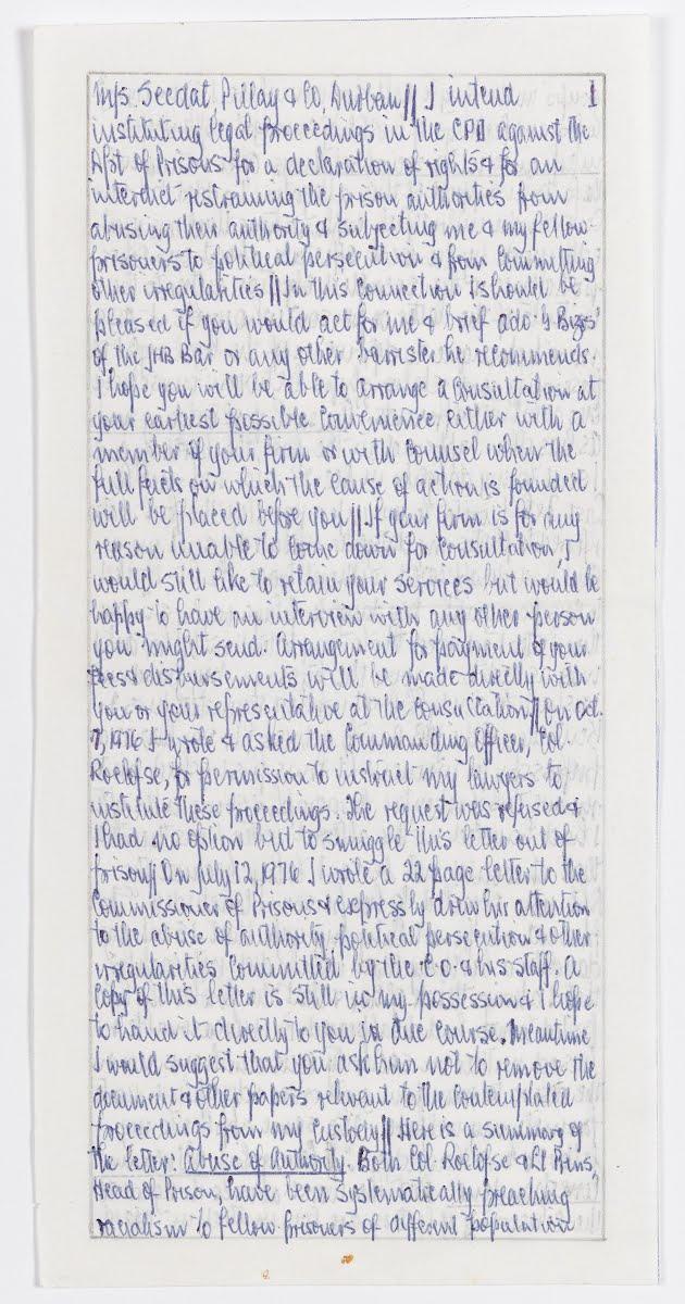 LETTRES PASSÉES CLANDESTINEMENT Lettres de Mandela et d'Ahmed Kathrada transmises à leurs avocats