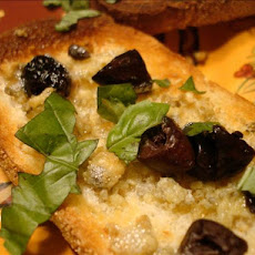 Gorgonzola and Kalamata Snack Toasts