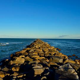 Ponce Inlet Jetty by Bill Telkamp - Novices Only Landscapes ( seascape, seaside, jetty, rocks )