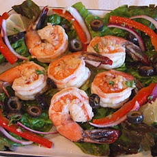 Spicy Lemon Shrimp over Greens