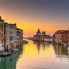 5:49 am: sunrise on the Grand Canal by Roberto Melotti - City,  Street & Park  Historic Districts ( venezia, roberto melotti, grand canal, venice, nikon d7100, sunrise, italy, canal grande )