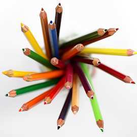 by Dipali S - Artistic Objects Education Objects ( crayon, blue pencils, in a row, colors, pencil shavings, art, study, yellow, education, creativity, art and craft equipment, multi colored, draw, pencil, school, red, blue, vibrant color, artist's, large )