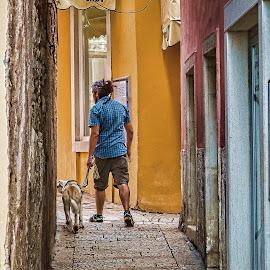 šetnja by Vedran Bozicevic - City,  Street & Park  Street Scenes ( walking, dog, street photography )