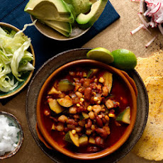 Vegetarian Red Pozole with Red Beans