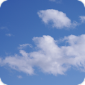 Blue sky white clouds icon