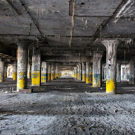 Apocalyptic Abandonedment  by Ashley McCuen - Buildings & Architecture Decaying & Abandoned ( balance, open, vast, empty, columns, yellow, architecture, detroit michigan fisher building, forgotten, abandoned )