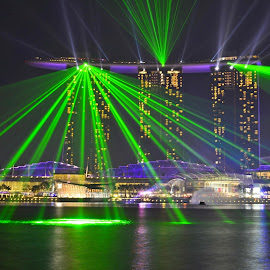 Laser Show, Marina Bay Sands  by Abdul Salim - Landscapes Waterscapes ( colorful, nightshot, laser show, singapore, marina bay )