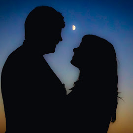 Love by the light of the moon by Angie Braconnier - People Couples ( love, enthusiasm, red, passionate, moods, silhouette, couple, passion, improving mood, inspirational )