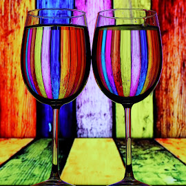 A Pair of Glass by Sanjib Paul - Artistic Objects Cups, Plates & Utensils ( water, wine, color, wine glass, artistic, glass, artistic objects, refraction,  )