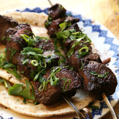 Pork Kebabs with Cucumber–Mint Yogurt Sauce