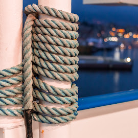 Rope on ship by Cesare Morganti - Artistic Objects Other Objects ( rope, ship, night, cord, ropes )