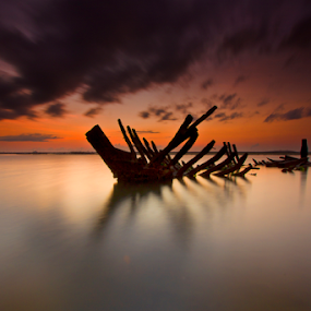 Just Wreck by Choky Ochtavian Watulingas - Landscapes Waterscapes ( clouds, dawn, blue hour, wreck, reflections, sunrise, seascape, csv )