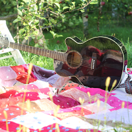 Guitar under apple tree by Jillian Schleger - Artistic Objects Musical Instruments ( blanket, apple tree, musical instruments, summer, guitar, step ladder, garden,  )