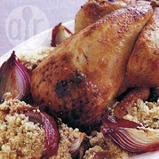 Middle Eastern roast guinea fowl with saffron couscous
