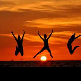 High Spirits by Ray Rosal - Landscapes Sunsets & Sunrises ( happy, sunset, bliss, people, jump )
