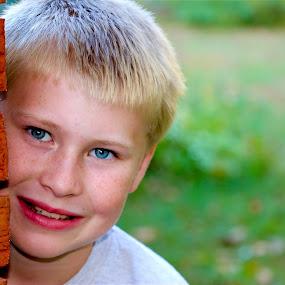 So Grown Up by Cheryl Thomas - Babies & Children Child Portraits ( young boy, blonde hair, child portrait, blue eyes, boy,  )