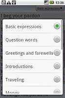 Screenshot of BKS English-Spanish PhraseBook