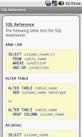 Screenshot of SQL Pro Quick Guide