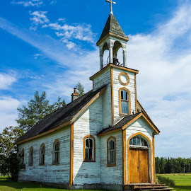 Pigeon Church by Linda Farwell Ryma - Buildings & Architecture Decaying & Abandoned ( pigeons, nw ontario, church, upsala, abandoned )