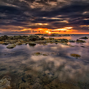 Momentarily by Eris Suhendra - Landscapes Sunsets & Sunrises ( clouds, reflection, waterscape, beautiful, beach, travel, kalimantan, landscape, photography, frame, sky, sunset, indonesia, nikon,  )
