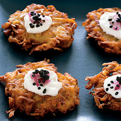 American Caviar with Crispy Yukon Gold Potato Pancakes