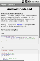 Screenshot of Android CodePad