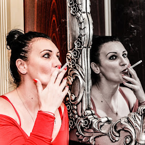 Lady  in  red by Camelia Cami - People Portraits of Women ( cigarette, mirror, red, smoking, white, lady, black )
