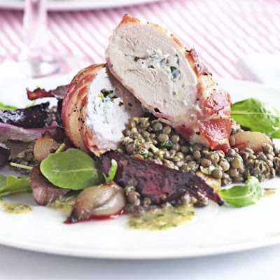 Goat's Cheese Chicken With Warm Lentils & Sweet Beets