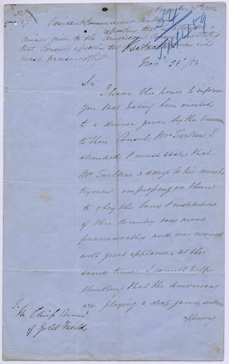 "The following record comprises the  US Consul's correspondence with Hotham on the subject of American nationals involved with the stockade. The Belgian Consul also wrote to Hotham in early December offering support. <a href=""http://wiki.prov.vic.gov.au/index.php/Eureka_Stockade:Rede_reports_on_a_dinner_held_for_the_American_Consul_and_states_his_mistrust_of_the_Americans"">Click here to see more of this record on our wiki</a>   In this report dated 28 November 1854, Resident Gold Fields Commissioner Robert Rede praises the American consul for his speech to his countrymen, while at the same time betraying his own paranoia over their involvement in the recent unrest and their plans for the future."