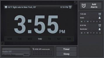 Screenshot of Rise Up! Radio/Alarm Clock