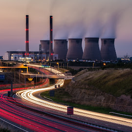 Power Lines by Phil Gledhill - Landscapes Travel ( ferrybridge, castleford, power stations, a1m, motorway, light trails, techniques, low light, places, road, industry )