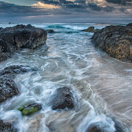 Currumbin by Sue Niven - Landscapes Beaches ( gold coast, waves, sunset, beach, rocks )