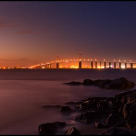 Pont de Saint-Nazaire by RD Photography - Landscapes Travel ( silk, saint nazaire, sunset, long exposure, beach, bridge, rocks )