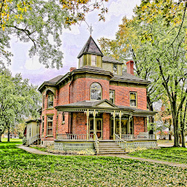 Beyer House by John Kehoe - Buildings & Architecture Homes ( home, fall colors, hdr, mansion, beyer, house, porch,  )