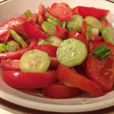 Summer Tomato Salad with Cucumber and Green Onions