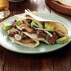 Beef-and-Mushroom Tacos with Avocado Salad